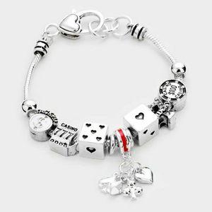 Silver Multi Charm Dice Beaded Jewelry Bracelet